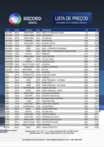 Tabela de preços da Record para a programação de Goiás